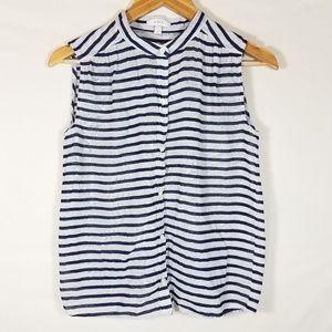 J. Crew Blue & White Striped Sleeveless Top Size 0